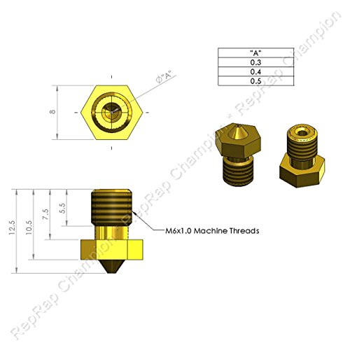 Reprap champion pcs nozzle set mm and