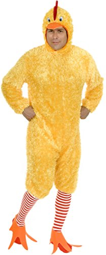 Adult Size Funky Yellow Fuzzy Chicken Suit Costume X-Small 34-36