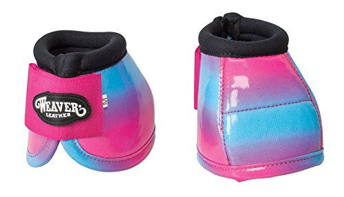 Weaver Leather Bell Boots, Pink/Blue Ombre, Medium - Pink Horse Bell Boots