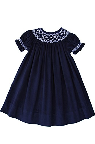 (Girls Smocked Special Occasion Party Bishop Dress in Navy Corduroy)