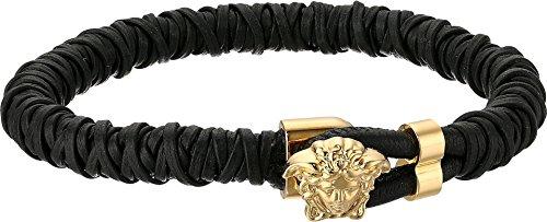Versace Unisex Leather Medusa Bracelet Black/Gold - Versace Charm