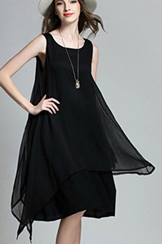 La oscilación Irregular gasa sin mangas vestido vestido Casual de las mujeres Black