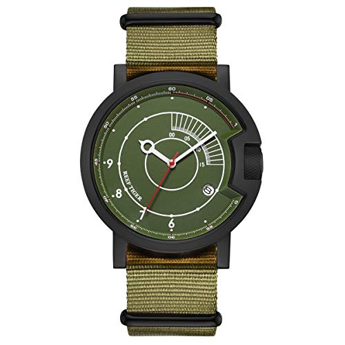 Reef Tiger New Designer Watch for Men Waterproof Green Watches Nylon Strap Mechanical Watches RGA9035