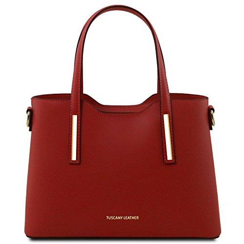 Tl141521 Scuro Pelle Olimpia In Shopper Rosso Misura Leather blu Ruga Piccola Tuscany Borsa 1wxqAURzq
