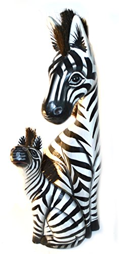 Hand Carved Wooden Set 2 African Mother Baby Zebra Statue ()