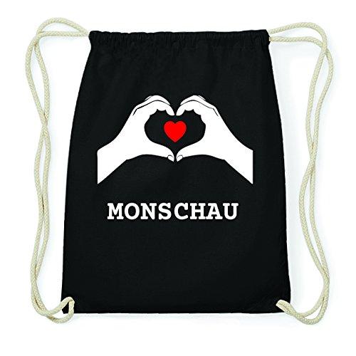 JOllify MONSCHAU Hipster Turnbeutel Tasche Rucksack aus Baumwolle - Farbe: schwarz Design: Hände Herz