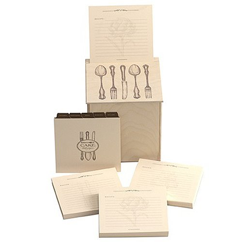 Cake Vintage Wood Recipe Card Holder with 150 Recipe Cards by Cake Vintage
