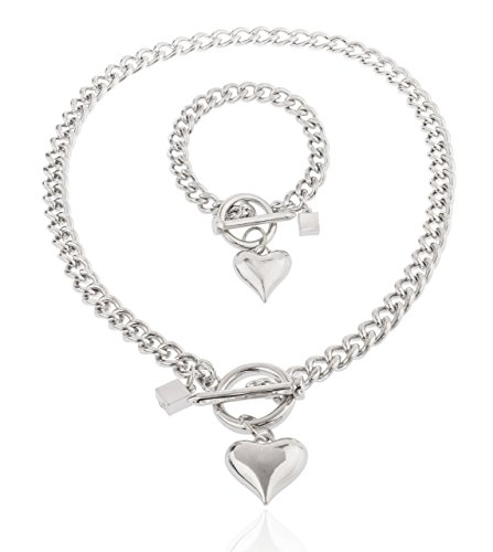 JOTW Silvertone Heart Pendant with a 21 Inch Cuban Nail Toggle Link Necklace with a Matching Bracelet Jewelry Set (B-2491)