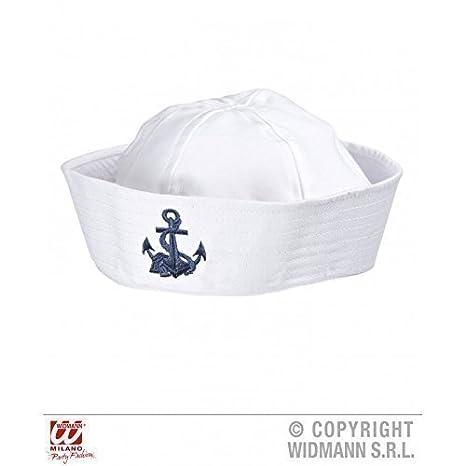 Cappello da Marinaio Bianco con Ancora Ricamata Blu  Amazon.it ... 3bfae43297dc