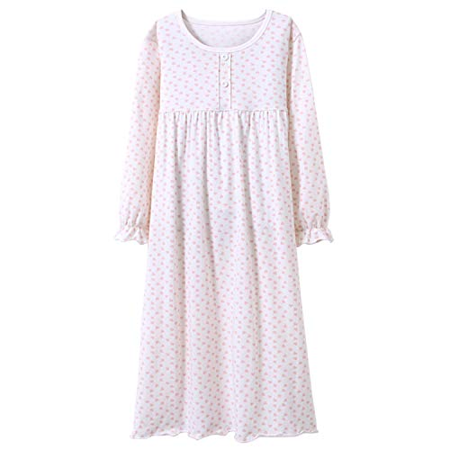 Baby Girls' Princess Nightgowns Heart Print Sleep Shirts Ruffle Sleep Gowns White 3t ()
