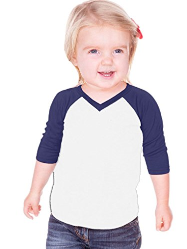 - Kavio! Unisex Infants Sheer Jersey Contrast V Neck Raglan 3/4 Sleeve White/Navy 12M