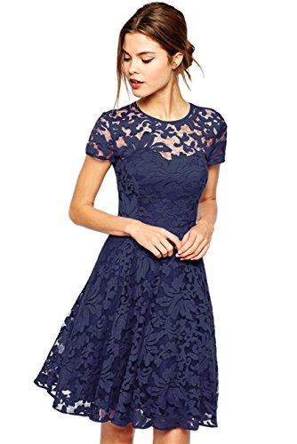 Amoluv Women Round Neck Short Sleeve Pleated Lace Slim Dress Purplish Blue Medium by Amoluv (Image #1)