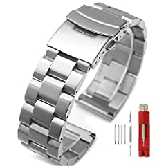 Compatible with: All regular watches with straight lug ends and corresponding lug width (Not for curved edge or other special designed timepieces). Perfect Fit: Band length can be adjusted by a link remover tool(not included). The link remove...