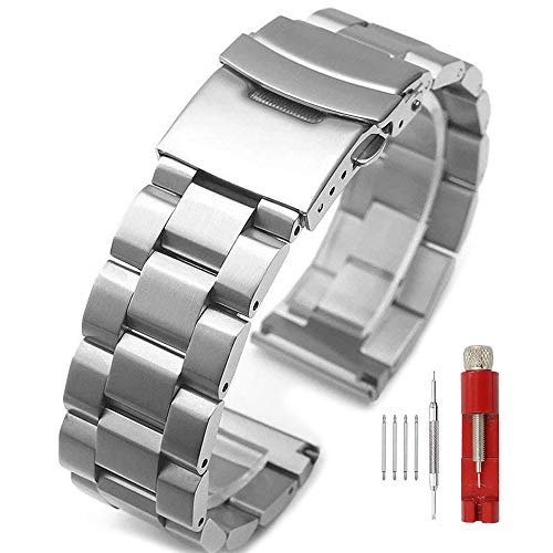 Silver/Black Stainless Steel Watch Bands Brushed Finish Watch Strap 18mm/20mm/22mm/24mm Double Buckle Bracelet ()