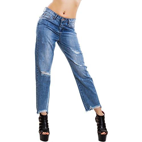 Donna Pantaloni Apribile Toocool Boyfriend Cerniera M5979 Jeans Posteriore Zip Blu Strappi 45wOpwq