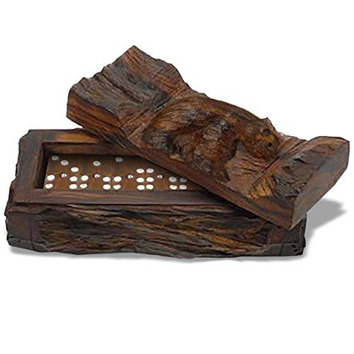 Ironwood Set - Sunland Artisans Rustic Log Carved Bear Ironwood Boxed Professional Dominoes Set