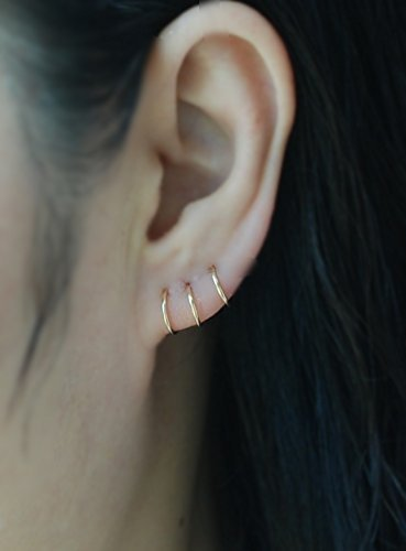 Hoop Earring 14k Yellow Gold Filled Cartilage Hoop Earring Tiny