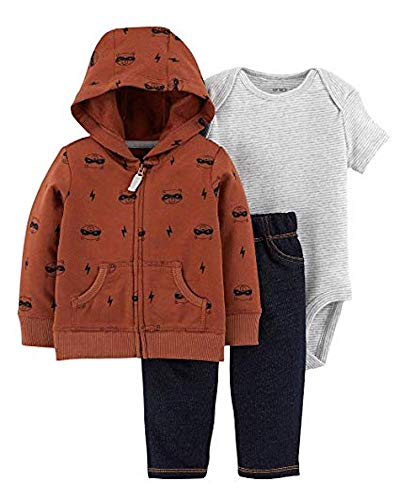 Carter's Baby Boys' 3-Piece Little Jacket Sets (Brown/Racoons, 6 Months)
