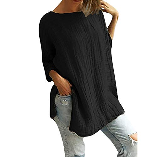 Split Solid Vintage Tops, QIQIU 2019 Women Summer Cotton Linen Half Sleeve O-Neck Casual Loose T-Shirt Blouse Black