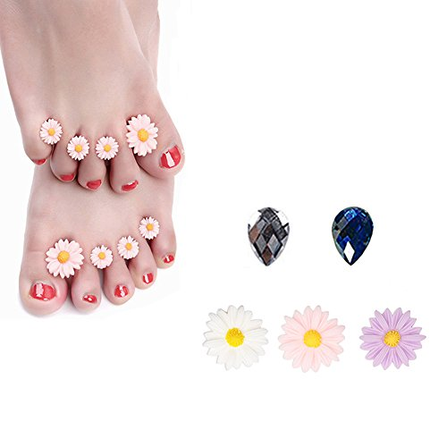 Silicone Toe Separators 8-Piece Spacers (Pink Daisy) ()