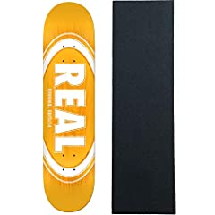 """Real Oval Burst Fade Yellow 8.06"""" Deck. Real decks are made using an exclusive technique producing stronger, longer lasting, better performing skateboard decks. Also includes a sheet of Black Diamond griptape."""