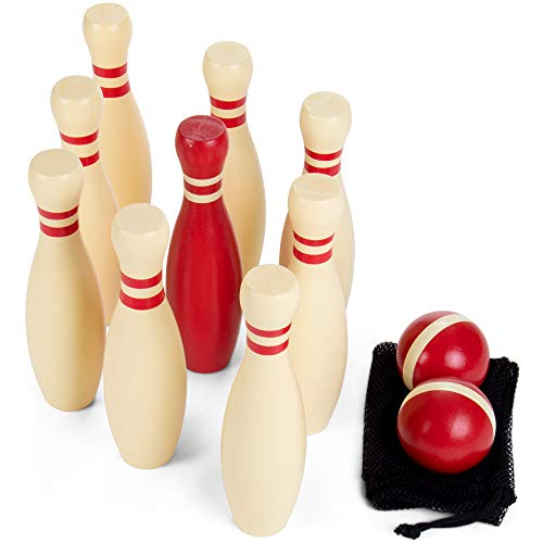 Deluxe Natural Wood Lawn Bowling Set with Ten 9 Inch Pins & 2 Balls - Includes Bonus Carrying Bag! by BBG (Image #1)