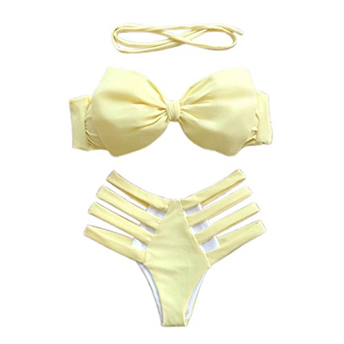 SKY Beautiful to wear it !!!mujer Bikini vendaje Bikini Set Bra Swimsuit Push-up Traje de baño de playa Swimwear Amarillo
