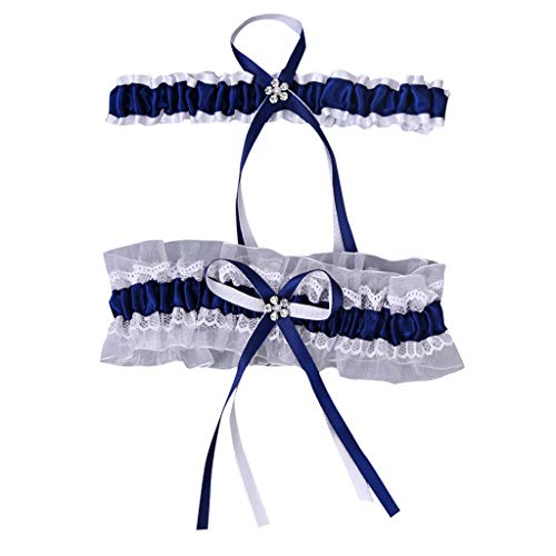 - scamper Wedding Bridal Garter Belt Ruffled Organza with Satin Bow Heart Charm Elastic Garter Belt (Navy, One Size)
