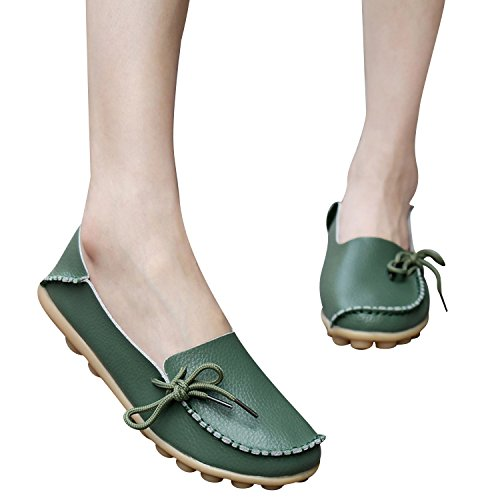 Boat Driving Fashion Century Leather Casual Womens Loafer C Slipper Army Up Lace Shoes Flats Moccasins Star Green wC0qAnC7