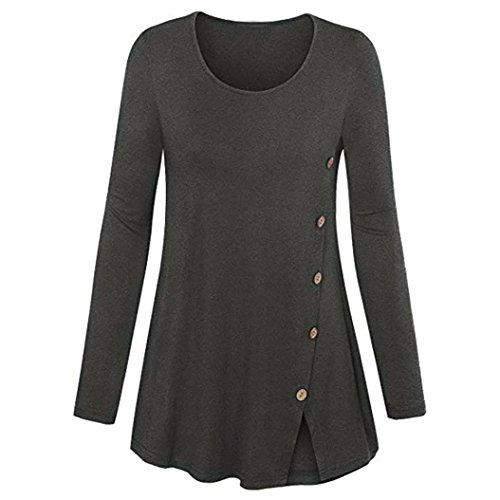 POHOK Women Plus Size Long Sleeve Solid O-Neck Forking Blouse Pullover Tops Shirt