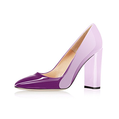 Violet Womens Dress Heels Shoes (Modemoven Women's Violet White Sexy Patent Leather Round Toe Block Heels Pumps Gorgeous Evening Party Stiletto Shoes - 10 M US)