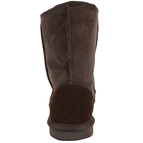 Ladies Genuine Sheepskin Mid Calf Short Boot by Bushga (Black, Chocolate Brown, Grey, Chestnut, Purple) Chocolate