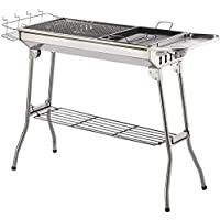 ISUMER Charcoal Grill Kabab Grills Portable BBQ - Stainless Steel Folding BBQ Camping Grill Large Hibachi Grill Shish Kabob Portable Camping Cooking for Travel Grill Outdoor
