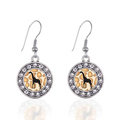 Inspired Silver - Giraffe Silhouette Charm Earrings for Women - Silver Circle Charm French Hook Drop Earrings with Cubic Zirconia - Silhouette Earrings Hook