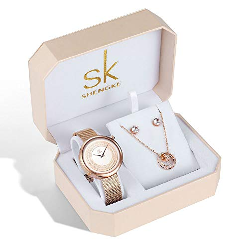 SK Necklace Watches Earring Rose Gold and Gold Jewelry Set Fashion Gifts for Women Accessories on Sale (K0094-RG-SET-XL004) from sk SHENGKE