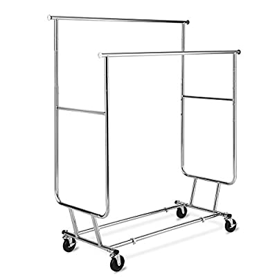 TomCare Garment Rack Double Clothes Racks Ajustable Clothing Rack Extensible Clothes Hanging Rack Commercial Grade Garment Rolling Racks for Hanging Heavy Duty Stainless Steel Garment Rack on Wheels - Saving Space---The height and the length is adjustable. The upper hanging rack can be extended from 50.3inches to 74.0 inches; The height can rise from 55.1 inches to 60.5 inches. Also the bottom bars can be put into use for extra storage. Therefore, you can use it for hanging and storing lots of clothing without taking up too much space. Double Clothing Racks & Convenient Wheels---There are two upper clothing racks, which will provide more space for storing clothing. Also, 4 heavy-duty omnidirectional casters included, 2 of them with locking brake, which makes the whole garment rack convenient to move from one place to another and keep still. Kindly note: please use the garment rack on the flat places instead of carpet or very uneven ground. Easy Assembly and Collapsible---With instruction, you can assemble the clothing rack easily. You can unfold your rack for hanging clothing without taking too much time. If you don't want to use it, you can fold it into a flat shape which do not need too much space for storing. - laundry-room, entryway-laundry-room, drying-racks - 41%2B8AA0O70L. SS400  -