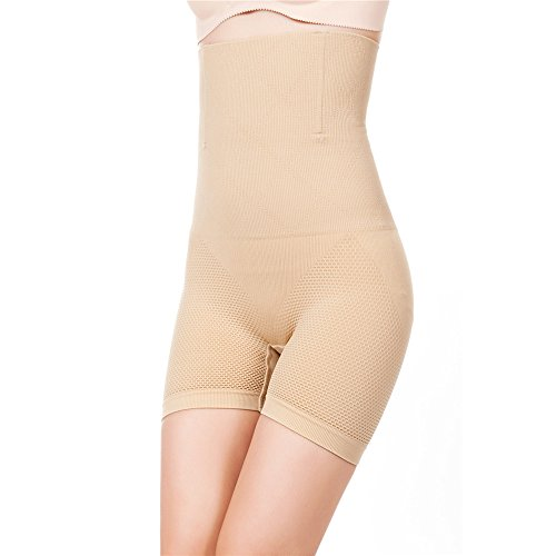Robert Matthew Brilliance Women's Shapewear High Waisted Mid-Thigh Boy Shorts (Small/Medium, Nude)