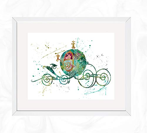 Cinderella Carriage Prints, Cinderella Disney Watercolor, Nursery Wall Poster, Holiday Gift, Kids and Children Artworks, Digital Illustration Art]()