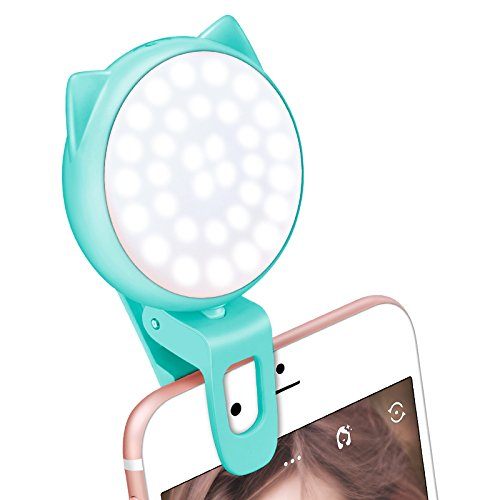 Selfie Ring Light for Camera, OURRY Clip On [Rechargeable Battery] Selfie LED Camera Light [32 LED] Compatible with iPhone, iPad, Sumsung Galaxy, Photography Phones, Tablet, Laptop (Blue)