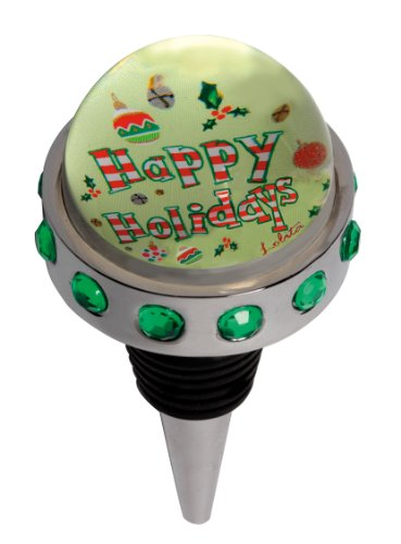 Santa Barbara Metal - Lolita by Santa Barbara Design Studio Metal and Glass Dome Bottle Stopper, Happy Holidays