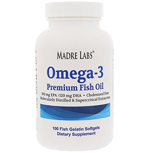 Madre Labs Omega-3 Premium Fish Oil No GMOs No Gluten 100 Fish Gelatin Softgels (Omega Premium 3)