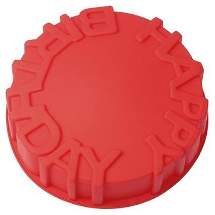 """Haifischtech – Molde redondo para tarta, en silicona, con texto""""Buon Compleanno"""