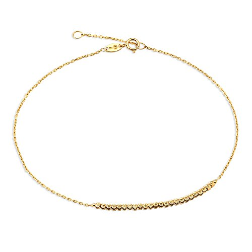 10k Yellow Gold Ankle Anklets Beach Foot Elegant Moon Cut Ball Links Womens Female