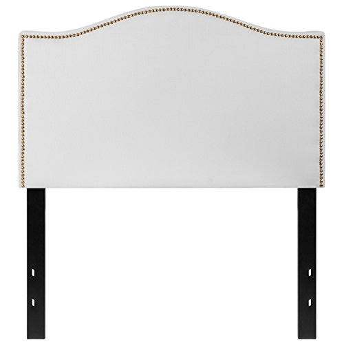 Flash Furniture Lexington Upholstered Twin Size Headboard with Decorative Nail Trim in White Fabric - HG-HB1707-T-W-GG Brass Twin Size Headboard