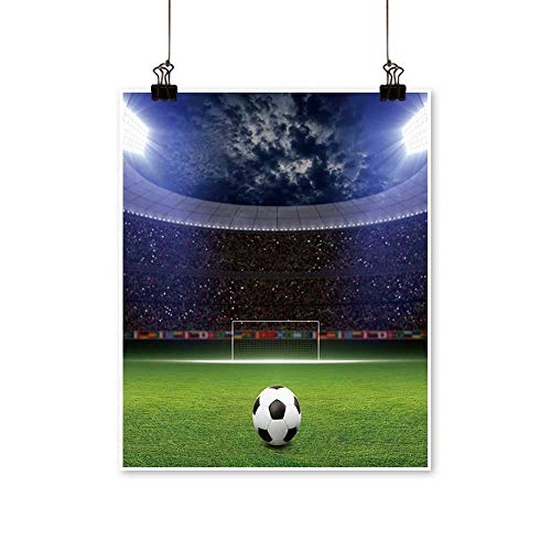 - Canvas Wall Art Romantic Soccer Stadium,Soccer Ball on Green Stadium,Arena in Night Bright spotlights,Soccer Goal for Home Decoration,24