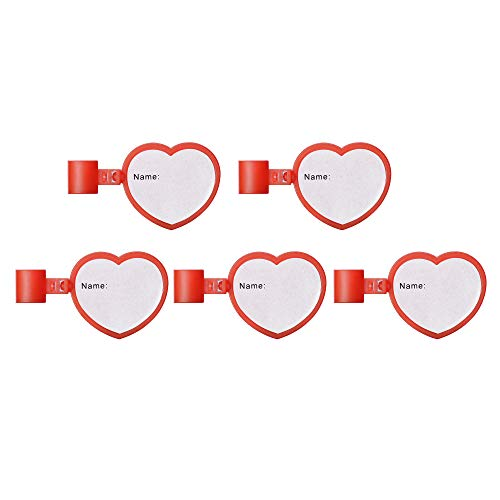(Beautyflier 5 Pcs Plastic Name ID Identification Tag Clip for Stethoscope Tube Replacement (Heart(Red)))