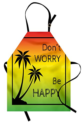 Ambesonne Rasta Apron, Dont Worry Be Happy Music Words of Iconic Singer Palms Ombre Colors, Unisex Kitchen Bib with Adjustable Neck for Cooking Gardening, Adult Size, Lime Green