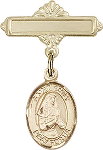 14kt Gold Baby Badge with St. Emily de Vialar Charm and Polished Badge Pin St. Emily de Vialar is the Patron Saint of Single Laywomen 1 X 5/8