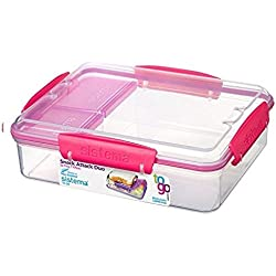 Sistema To Go Collection Snack Attack Duo Food Storage Container, 32.9 oz./1.0 L, Clear/Pink