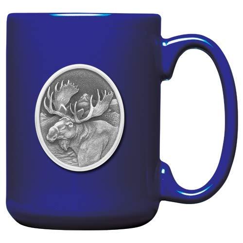1pc, Pewter Moose Coffee Mug, Cobalt